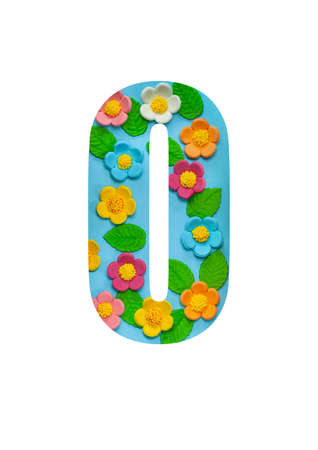 The letters O of the English alphabet is cut out of flowers on a blue background.Floral pattern, texture for stores,sales,websites,postcards and holiday greetings. Imagens