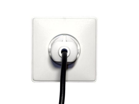 Electrical outlet with plug isolated on white background photo