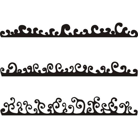 volute: Black riccioli su uno sfondo bianco. Onde. Vettoriali