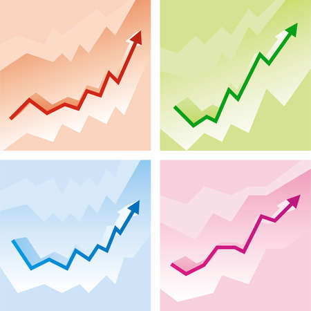 Set of arrows. Graphs on colored backgrounds. Vector