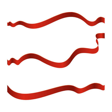 silk ribbon: Set of red ribbons isolated on white background