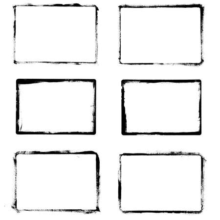 uneven edge: Set of black grunge frames isolated on white background