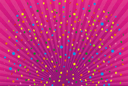 Confetti on pink radiant background. Festive abstract design. Vector