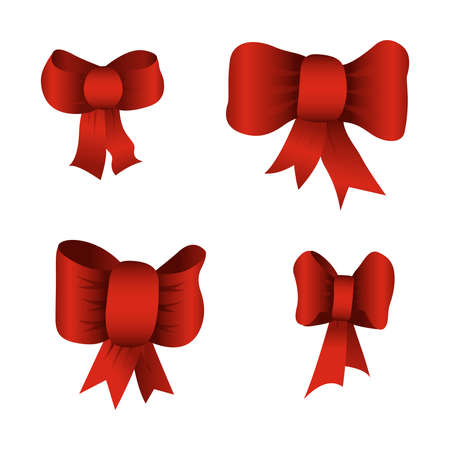 christmassy: Set of red bows isolated on white background