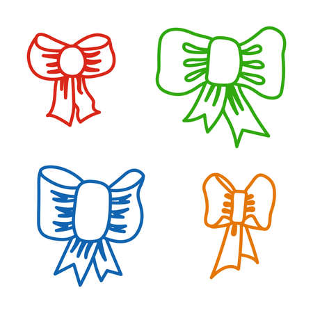 Set of contoured bows isolated on white background