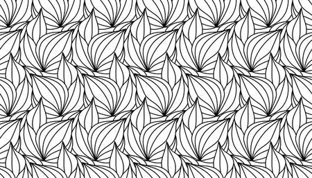 Seamless foliate black pattern isolated on white background