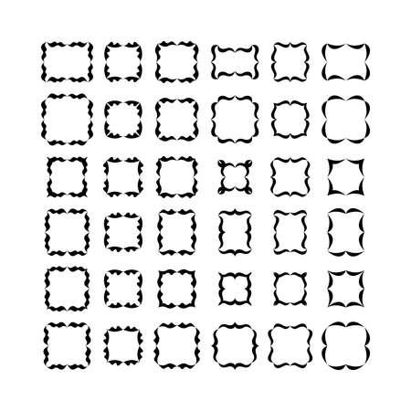 friso: Conjunto de marcos negros aislados en el fondo blanco. Set 1.