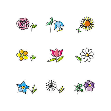 Set of Nine Flowers Isolated on White Background Vector