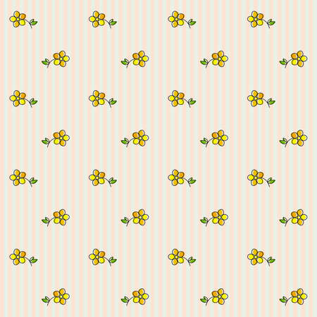 buttercup  decorative: Floral Seamless Pattern on a Striped Background