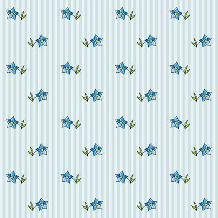 buttercup: Floral Seamless Pattern on a Striped Background