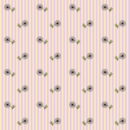 Floral Seamless Pattern on a Striped Background Vector