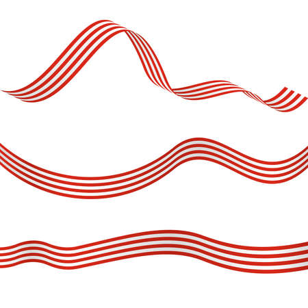 Striped Ribbons. Decorative Design Elements.  Set of three red-white wavy striped ribbons isolated on white background