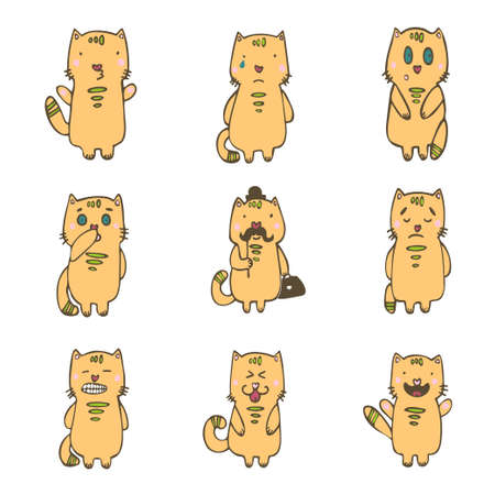 set of cats with various emotions