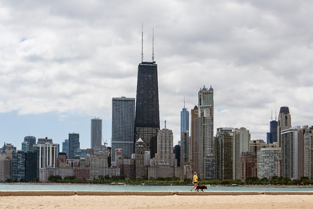 A woman walking her dog in front of the Chicago skyline near the waterfront