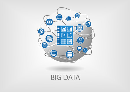Big data digital analytics dashboard vector illustration. Business intelligence dashboard in order to analyze big data coming from smart devices and unstructured data Illustration