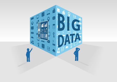 big boxes: Flat vector illustration in blue and grey. Big data cube with icons and persons Illustration