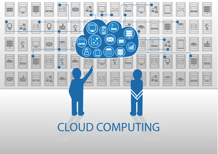 explaining: Vector illustration of icon persons for cloud computing. Person explaining cloud computing to another person to answer questions on how it works