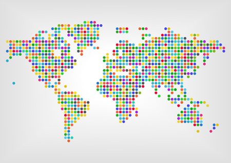 diversity: Map with dots in different colors. Concept of diversity around the world Illustration