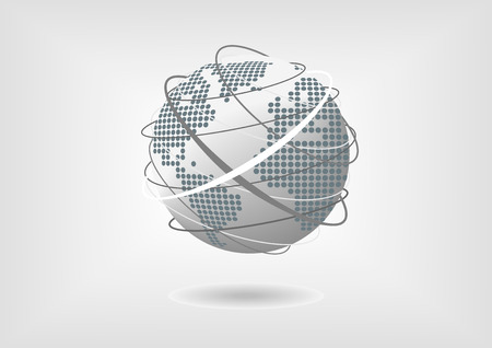 Vector illustration of globe with dotted world map of North America, South America, Europe and Africa in flat design with grey, blue and white color scheme