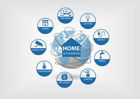 Vector illustration with different line icons. Smart home automation concept with smart sensors in energy, water, gardening, appliance and other home equipment. 일러스트