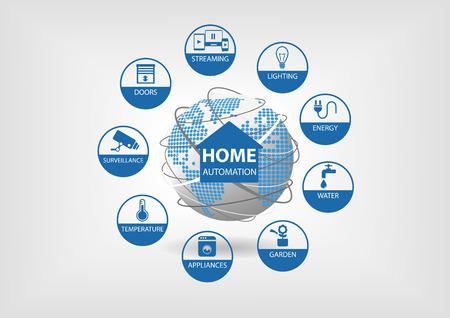 sensores: Ilustraci�n del vector con diferentes iconos de la l�nea. Concepto de automatizaci�n de casa inteligente con sensores inteligentes en energ�a, agua, jardiner�a, electrodom�sticos y otros equipos de casa.