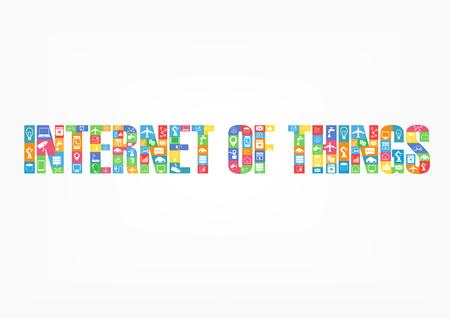 Kleurrijke internet van de dingen tekens spelling woord met pictogrammen op een witte achtergrond
