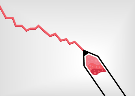 curve: Vector illustration of red pen or pencil drawing a declining negative growth curve  chart