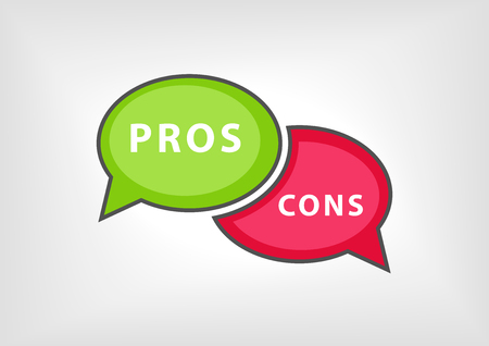 cons: Concept of pros versus cons collected During meetings, arguments, debates. Vector illustration of two opposing speech bubbles in red and green using flat design.