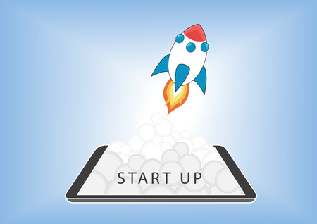 Start up business concept for mobile app development or other disruptive digital business ideas. Cartoon rocket launching from smart phone / tablet.