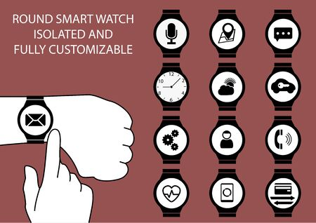 customize: Vector illustration of finger swiping smart watch on wrist display with touch gesture on marsala background. Multiple smart watch clockfaces using flat design to customize the illustration.
