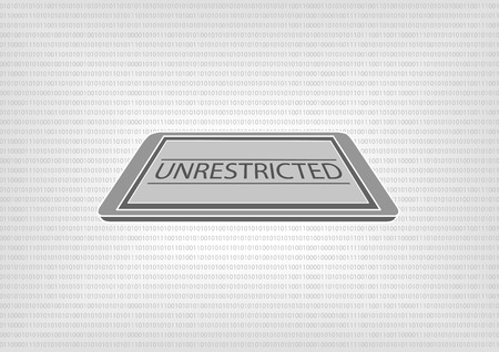 unrestricted: Vector illustration of smart phone or tablet with binary code in the background. Concept of unrestricted access by document classification and data protection standards Illustration
