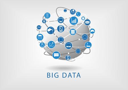Big analyse de données tableau de bord numérique vecteur illustration. Tableau de bord de l'intelligence d'affaires pour analyser les données provenant de grands dispositifs intelligents et des données non structurées