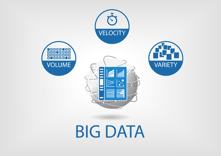 information management: Big data volume, velocity and variety with analytics dashboard. Flat design vector illustration in blue and gray with flat design and business intelligence universe as Represented globe.