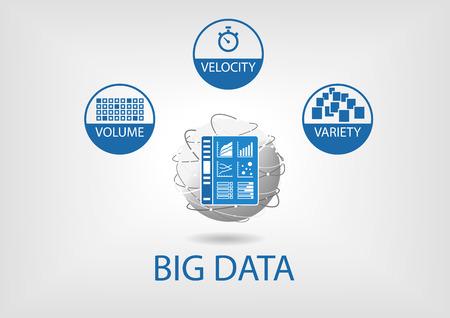 Grand volume de données, la vitesse et la variété avec Analytics tableau de bord. Design plat illustrations vectorielles en bleu et gris avec un design plat et univers de business intelligence que Représenté monde. Vecteurs