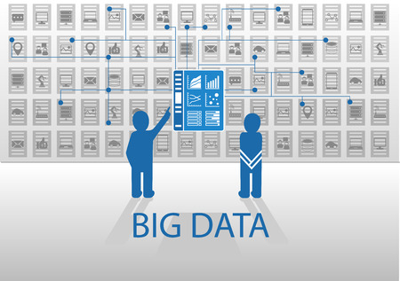 big business: Vector icon illustration in flat design with blue and gray for big data concept. Two persons standing in front of business intelligence dashboard information in order to analyze business data points. Illustration