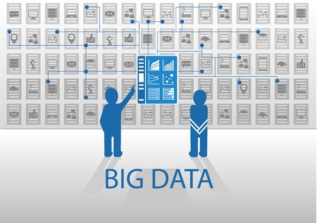 Vector illustratie pictogram in flat design met blauw en grijs voor big data concept. Twee personen die voor business intelligence dashboard in om zakelijke gegevens punten te analyseren.