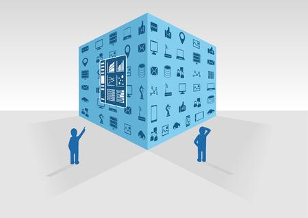 jezior: Ilustracji wektorowych z niebieskim dużego sześcianu danych na szarym tle. Dwie osoby patrząc na dużych danych i business intelligence danych zebranych z różnych źródeł, takich jak social media i sieci informacyjnej.