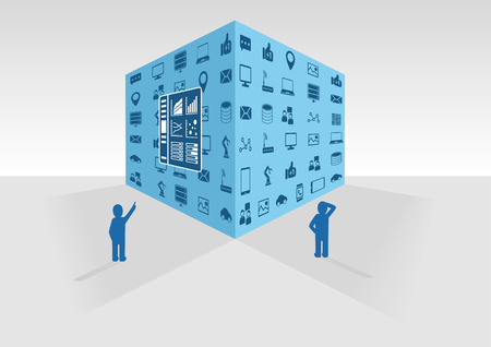 Vector illustration of blue big data cube on gray background. Two persons looking at big data and business intelligence data collected from various sources like social media and information network.