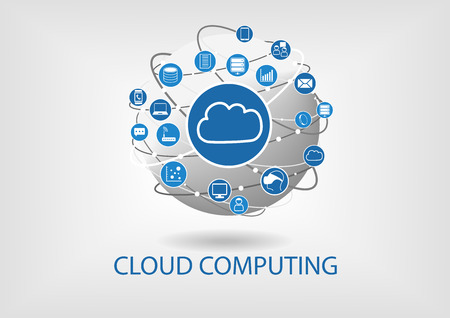 Cloud computing vector illustration with connected devices like laptops, tablets, smart phones, smart watches, servers, data, information. Illustration of globe in flat design Stock Illustratie