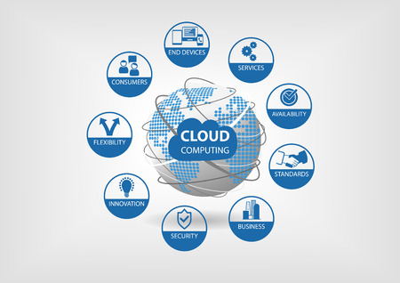 Vector illustration with spinning globe and dotted world map in blue and gray flat design. Cloud computing concept Visualized with different icons for flexibility, availability, services, consumerism consumers. Illustration