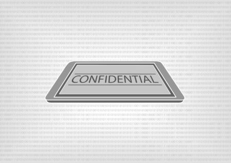 standards: Vector illustration of smart phone or tablet with binary code in the background. Concept of confidential document access by data classification and protection standards Illustration