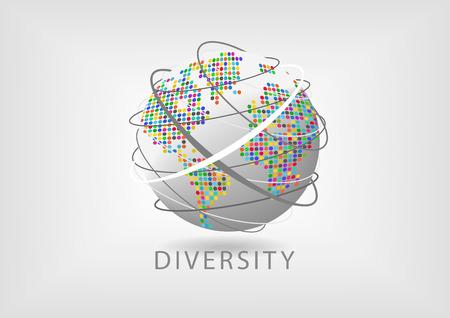 Globo de giro con el mapa de puntos de colores y líneas que representan la comunicación. Concepto de la diversidad en todo el mundo
