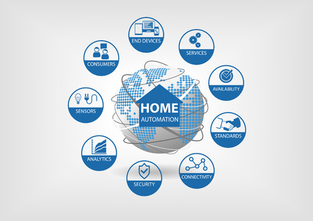 Vector illustration with different line icons. Smart home automation concept with smart sensors in energy, water, gardening, home appliance and other equipment.