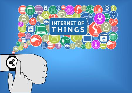 coisa: Internet de ilustração vetorial coisas com design plano. Dedo está tocando um relógio inteligente no pulso para controlar dispositivos como termostatos inteligentes, sensores, aparelhos, casa inteligente e outros gadgets