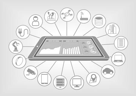 フラット白とグレーのデザインのベクトル イラスト スマート フォンと大きなデータ クラウド analytics のダッシュ ボードのインターネットのもの。  イラスト・ベクター素材