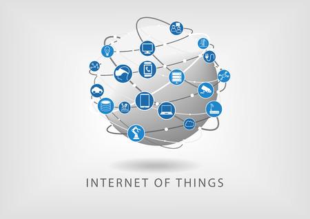 Internet de las cosas moderna ilustración mundo conectado en forma de iconos vectoriales en diseño plano. Globo con diversas conexiones entre dispositivos: tales como teléfonos inteligentes, sensores inteligentes y reloj. Ilustración de vector