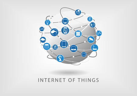 Internet of things modern connected world illustration as vector icons in flat design. Globe with various connections between devices: such as smart phone, smart sensors and watch.