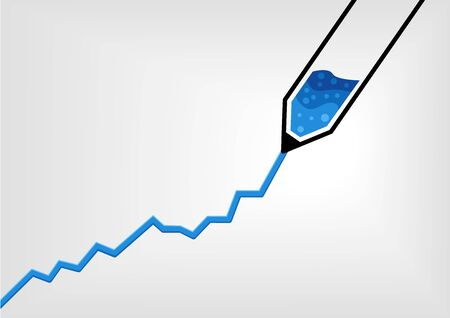 hyper: Vector illustration of pen drawing a business growth chart with blue ink in flat design Illustration