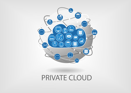 Private cloud computing vector illustratie in platte ontwerp met bol. Concept van cloud computing en de verbinding tussen de publieke en private cloud.