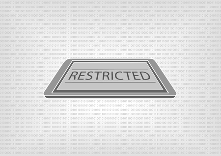 standards: Vector illustration of smart phone or tablet with binary code in the background. Concept of restricted document access by data classification and protection standards